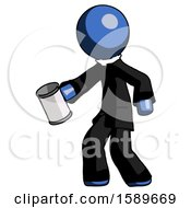 Blue Clergy Man Begger Holding Can Begging Or Asking For Charity Facing Left