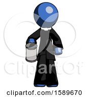 Blue Clergy Man Begger Holding Can Begging Or Asking For Charity