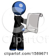 Blue Clergy Man Holding Blueprints Or Scroll