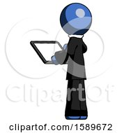 Blue Clergy Man Looking At Tablet Device Computer With Back To Viewer