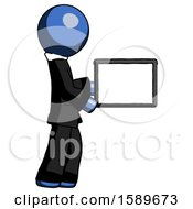 Blue Clergy Man Show Tablet Device Computer To Viewer Blank Area