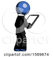Blue Clergy Man Looking At Tablet Device Computer Facing Away