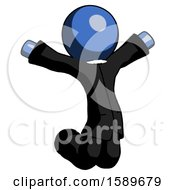 Blue Clergy Man Jumping Or Kneeling With Gladness