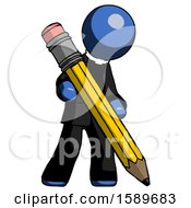 Blue Clergy Man Writing With Large Pencil