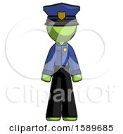 Green Police Man Standing Facing Forward