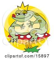 Fat Frog Prince Wearing A Crown And Sitting On A Red Mushroom With White Spots Clipart Illustration by Andy Nortnik