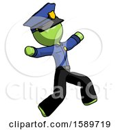 Green Police Man Running Away In Hysterical Panic Direction Right