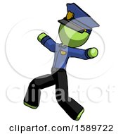 Green Police Man Running Away In Hysterical Panic Direction Left