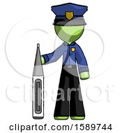 Green Police Man Standing With Large Thermometer