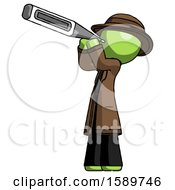 Green Detective Man Thermometer In Mouth