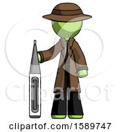 Green Detective Man Standing With Large Thermometer