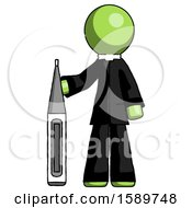 Green Clergy Man Standing With Large Thermometer