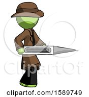 Green Detective Man Walking With Large Thermometer
