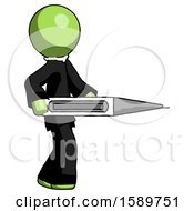 Green Clergy Man Walking With Large Thermometer