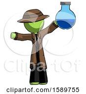 Green Detective Man Holding Large Round Flask Or Beaker