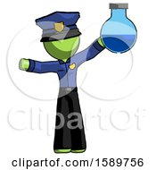 Green Police Man Holding Large Round Flask Or Beaker