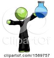 Green Clergy Man Holding Large Round Flask Or Beaker