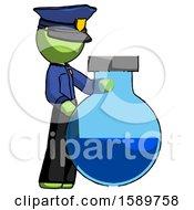 Green Police Man Standing Beside Large Round Flask Or Beaker