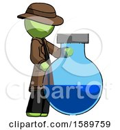 Green Detective Man Standing Beside Large Round Flask Or Beaker