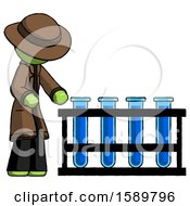 Green Detective Man Using Test Tubes Or Vials On Rack