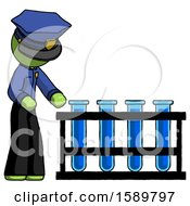 Green Police Man Using Test Tubes Or Vials On Rack