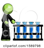 Green Clergy Man Using Test Tubes Or Vials On Rack