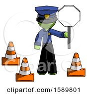 Green Police Man Holding Stop Sign By Traffic Cones Under Construction Concept