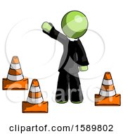 Green Clergy Man Standing By Traffic Cones Waving