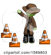 Green Detective Man Standing By Traffic Cones Waving