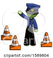 Green Police Man Standing By Traffic Cones Waving