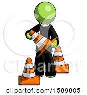 Green Clergy Man Holding A Traffic Cone