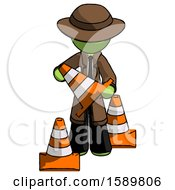 Green Detective Man Holding A Traffic Cone