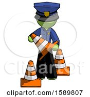 Green Police Man Holding A Traffic Cone