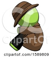 Green Detective Man Sitting With Head Down Facing Sideways Left
