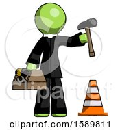 Green Clergy Man Under Construction Concept Traffic Cone And Tools