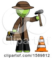 Green Detective Man Under Construction Concept Traffic Cone And Tools