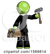 Green Clergy Man Holding Tools And Toolchest Ready To Work
