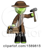 Green Detective Man Holding Tools And Toolchest Ready To Work