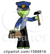 Green Police Man Holding Tools And Toolchest Ready To Work