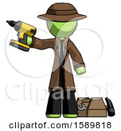 Green Detective Man Holding Drill Ready To Work Toolchest And Tools To Right