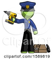 Green Police Man Holding Drill Ready To Work Toolchest And Tools To Right