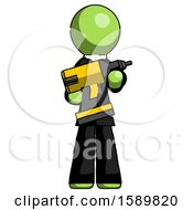 Green Clergy Man Holding Large Drill