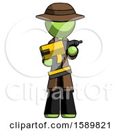 Green Detective Man Holding Large Drill