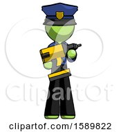 Green Police Man Holding Large Drill