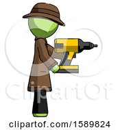 Green Detective Man Using Drill Drilling Something On Right Side
