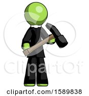 Green Clergy Man Holding Hammer Ready To Work