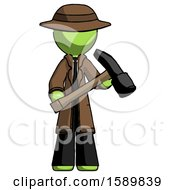 Green Detective Man Holding Hammer Ready To Work