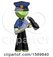 Green Police Man Holding Hammer Ready To Work