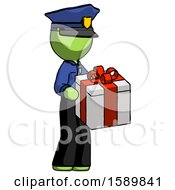 Green Police Man Giving A Present