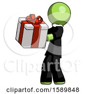 Green Clergy Man Presenting A Present With Large Red Bow On It